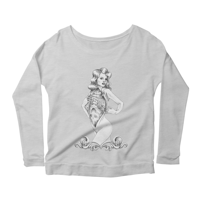 Anatomy Pinup Girl Women's Scoop Neck Longsleeve T-Shirt by Dura Mater