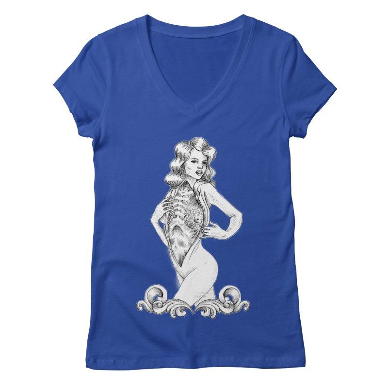 Anatomy Pinup Girl Women's Regular V-Neck by Dura Mater