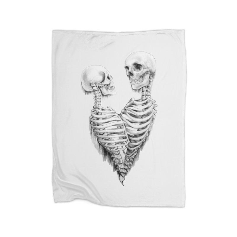 Skeleheart Home Fleece Blanket Blanket by Dura Mater