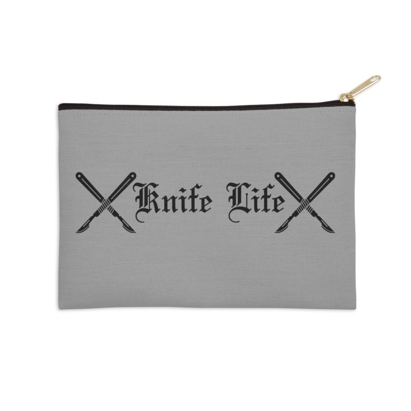 Knife Life - black font Accessories Zip Pouch by Dura Mater