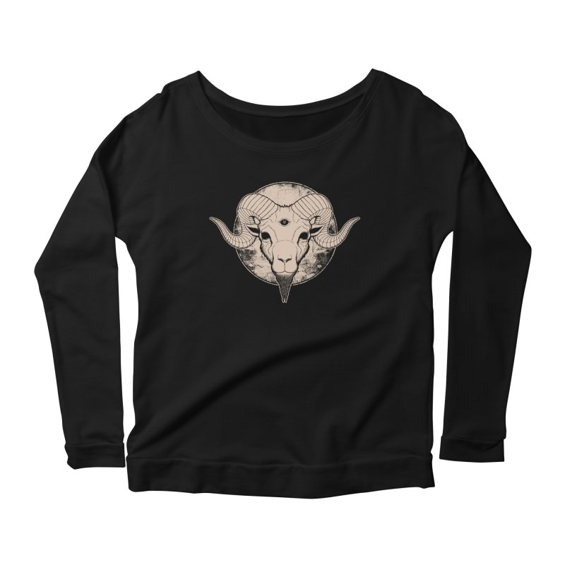 Three Eyed Goat Women's Longsleeve Scoopneck  by The Evil Goods Shop