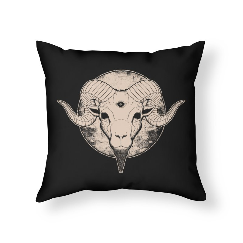 Three Eyed Goat Home Throw Pillow by The Evil Goods Shop
