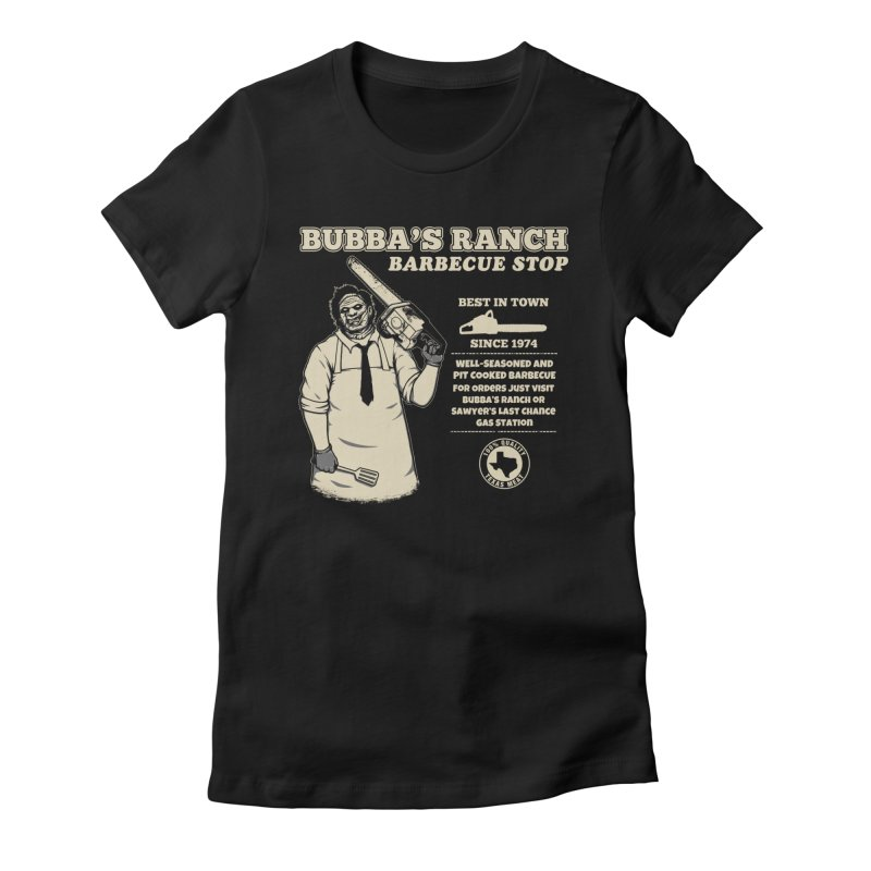Bubba's Ranch BBQ Stop Women's Fitted T-Shirt by The Evil Goods Shop