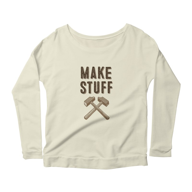Maker's Credo: Tan Women's Scoop Neck Longsleeve T-Shirt by The Factorie's Artist Shop