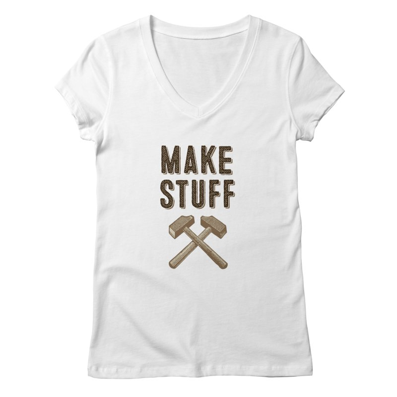 Maker's Credo: Tan Women's Regular V-Neck by The Factorie's Artist Shop