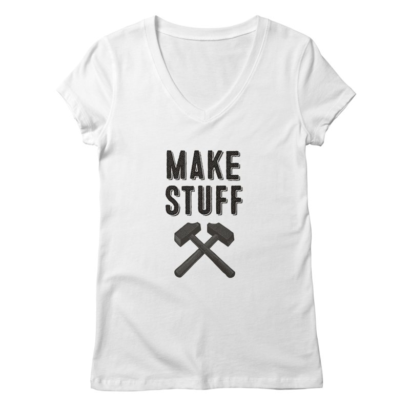 Make Stuff - Grey Women's V-Neck by The Factorie's Artist Shop