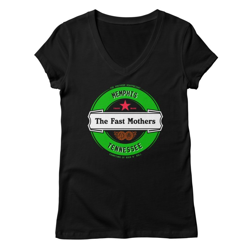 Beer Logo (white banner) Women's V-Neck by The Fast Mothers