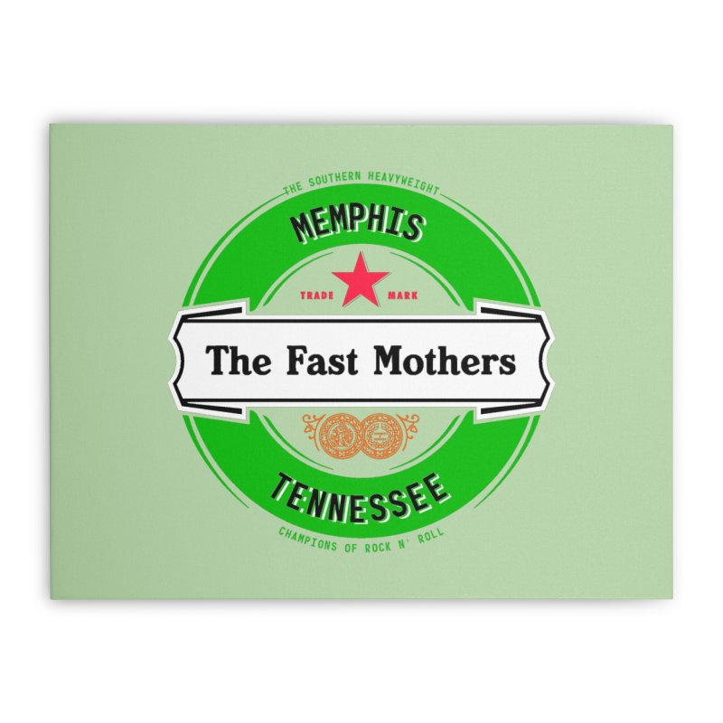 Beer Logo (white banner) Home Stretched Canvas by The Fast Mothers