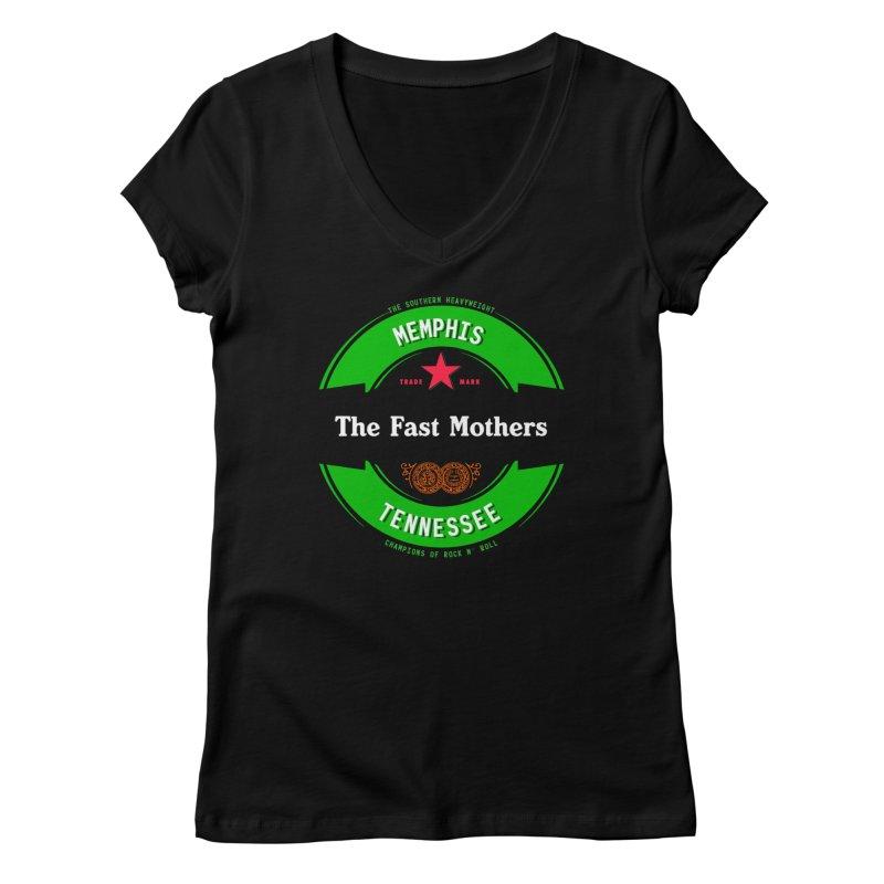 Beer Logo (black banner) Women's V-Neck by The Fast Mothers