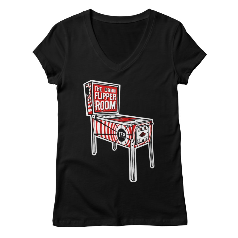 XIIX TFR Pinball Machine Women's V-Neck by The Flipper Room Shop