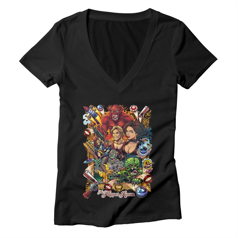 Pinball Portrait Women's V-Neck by The Flipper Room Shop