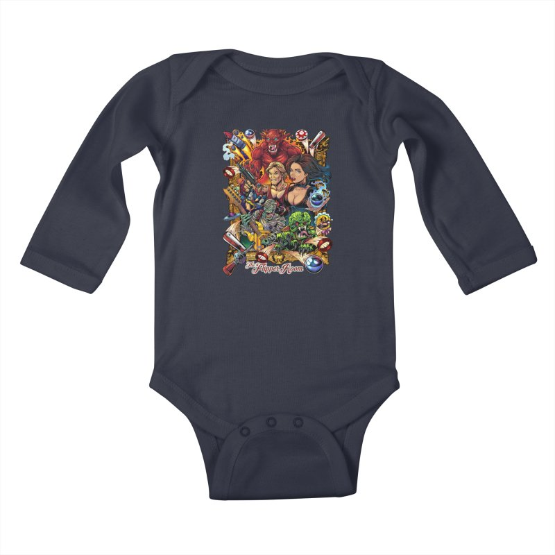 Pinball Portrait Kids Baby Longsleeve Bodysuit by The Flipper Room Shop