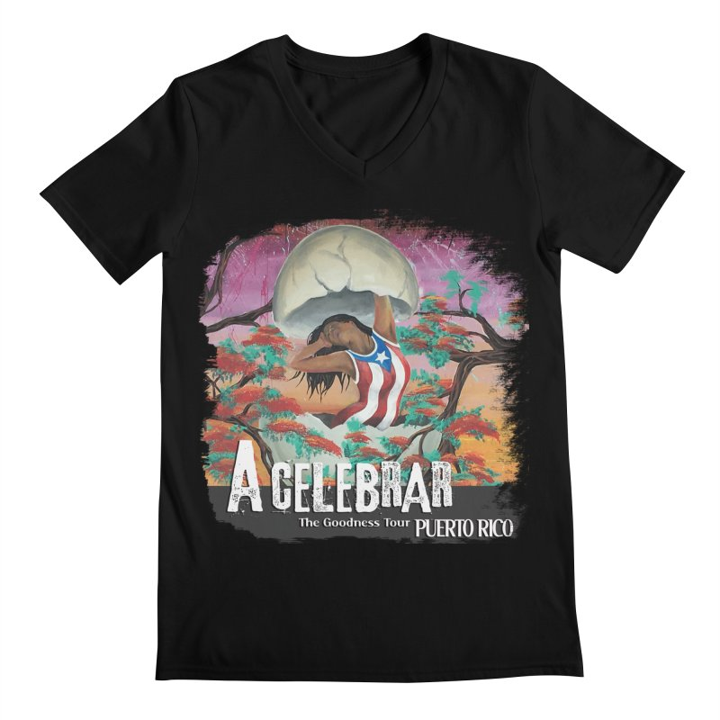 A Celebrar Apparel in Men's Regular V-Neck Black by The Goodness Tour Artist Shop