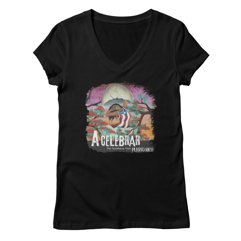 A Celebrar Apparel in Women's Regular V-Neck Black by The Goodness Tour Artist Shop
