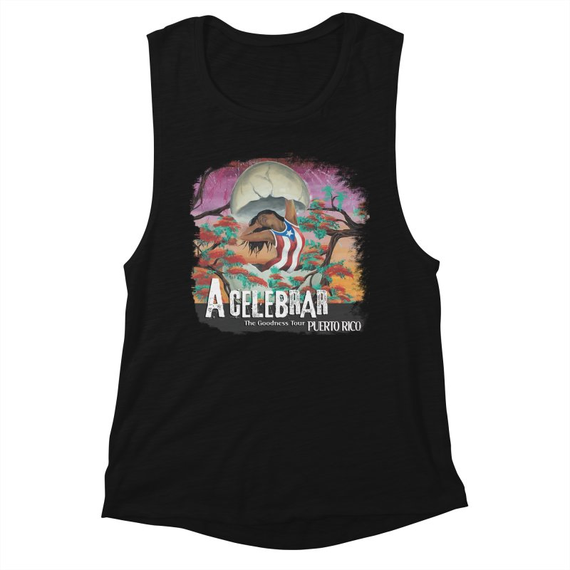 A Celebrar Apparel in Women's Muscle Tank Black Slub by The Goodness Tour Artist Shop