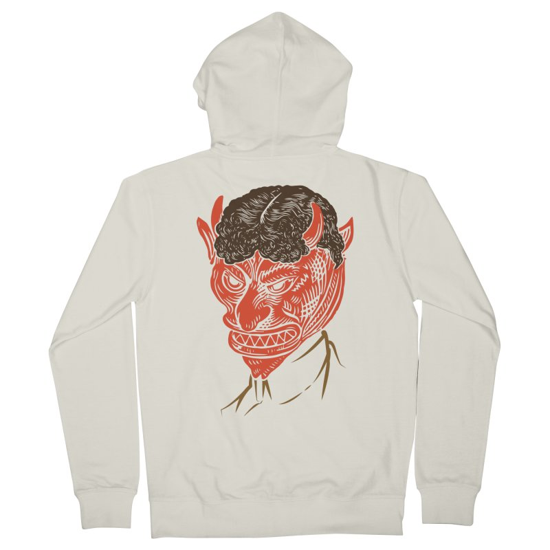 Hell Toupée Men's French Terry Zip-Up Hoody by Chick & Owl Artist Shop