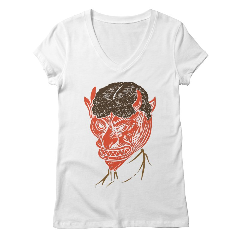 Hell Toupée Women's Regular V-Neck by Chick & Owl Artist Shop