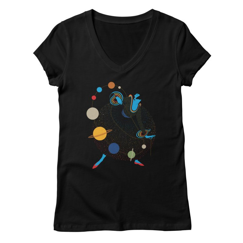 Mademoiselle Galaxy Women's V-Neck by Chick & Owl Artist Shop