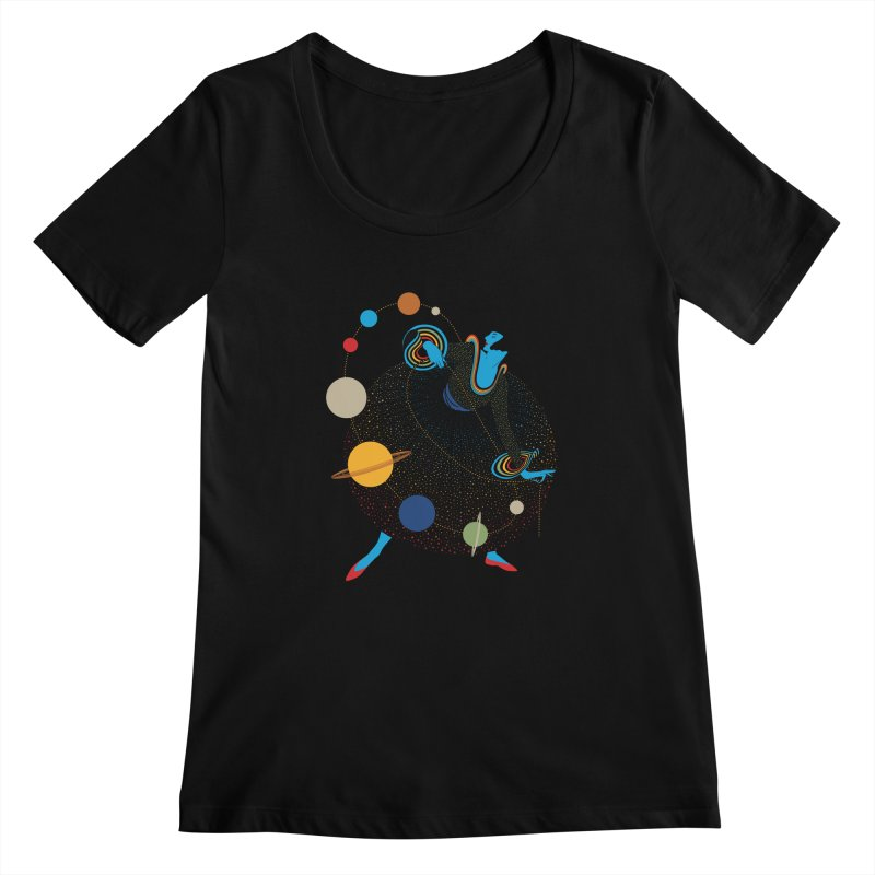 Mademoiselle Galaxy Women's Scoopneck by Chick & Owl Artist Shop