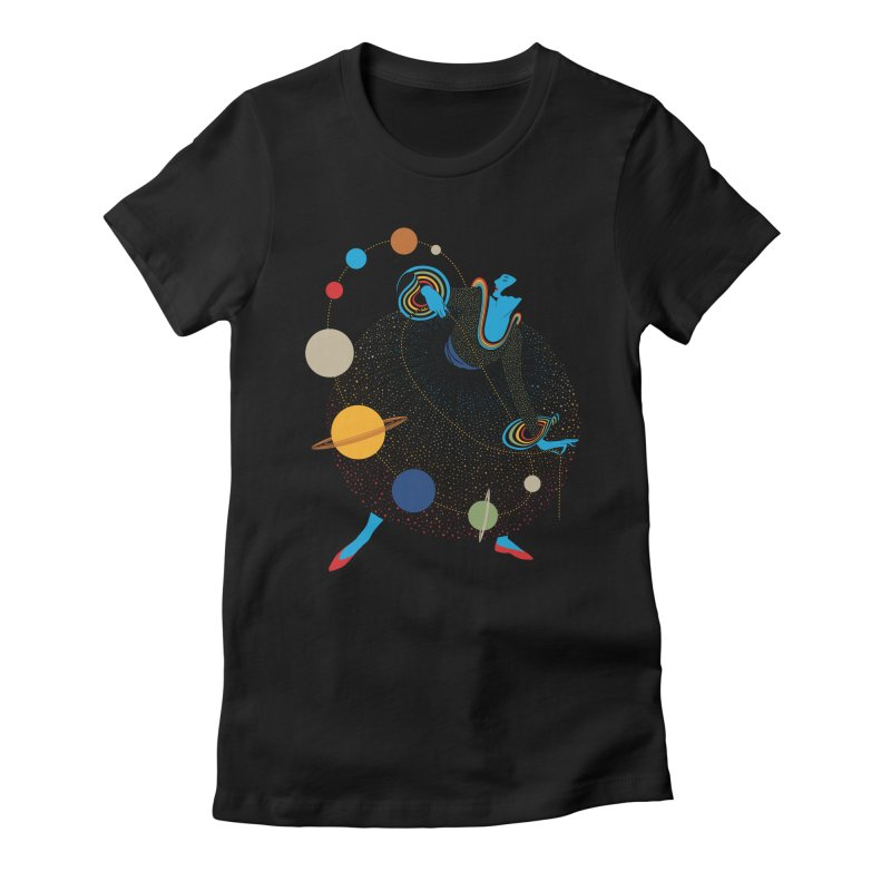 Mademoiselle Galaxy Women's Fitted T-Shirt by Chick & Owl Artist Shop