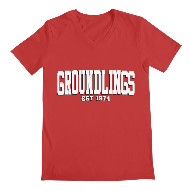 Groundlings Varsity Font Men's V-Neck by The Groundlings' Shop