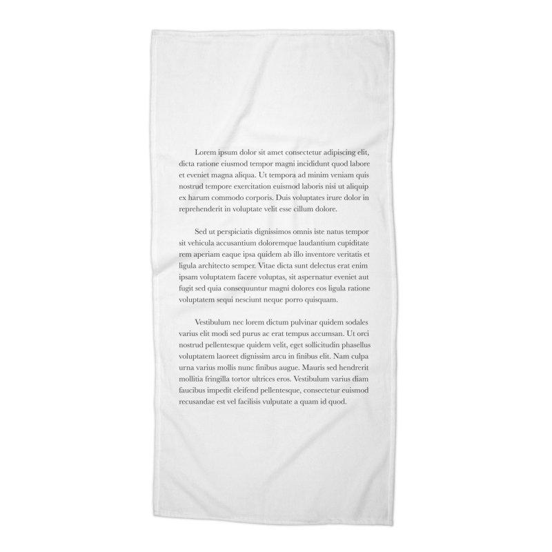 Lorem Ipsum Accessories Beach Towel by The Incumbent Agency
