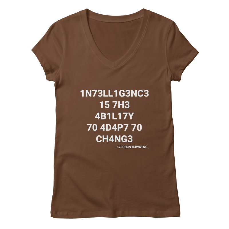 Stephen Hawking on Intelligence Women's V-Neck by TheIToons Tshirt Shop