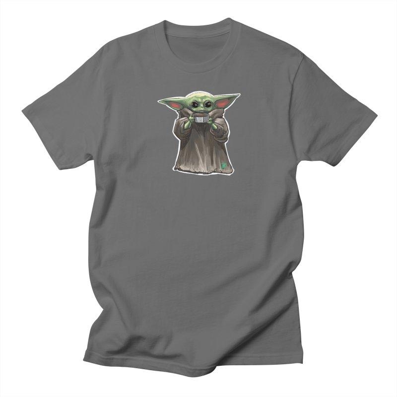 Baby Yoda - Sippin' Soup Men's T-Shirt by Jarett Walen's Happy Fun Shop of Joy and Pretty Pi