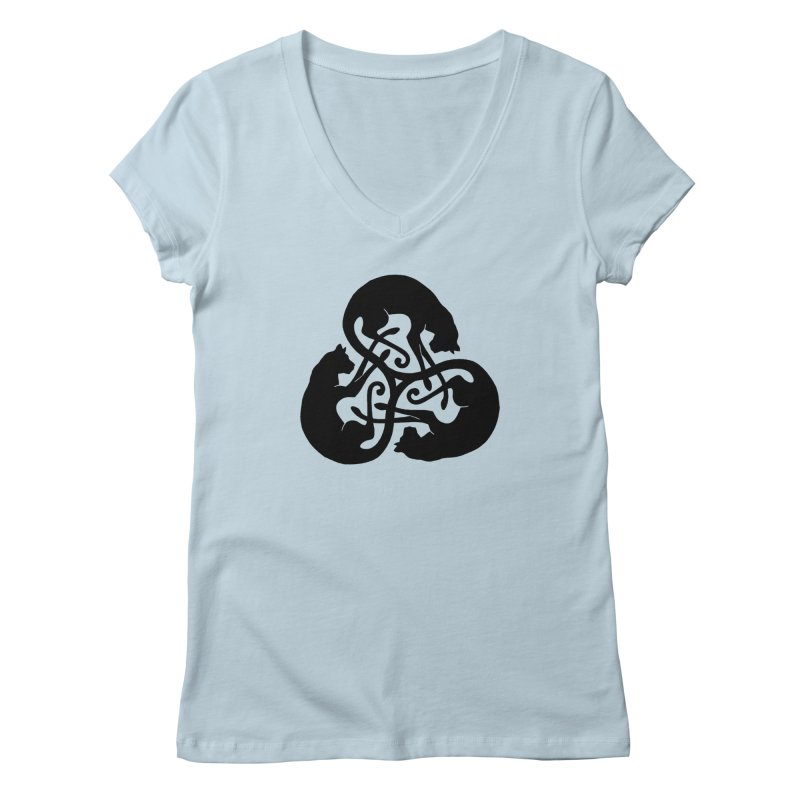 Triskelion Cats Women's V-Neck by thejauntybadger's Artist Shop