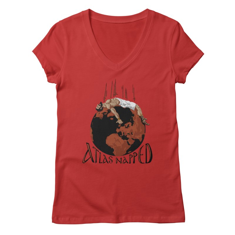 Atlas Napped Women's V-Neck by thejauntybadger's Artist Shop