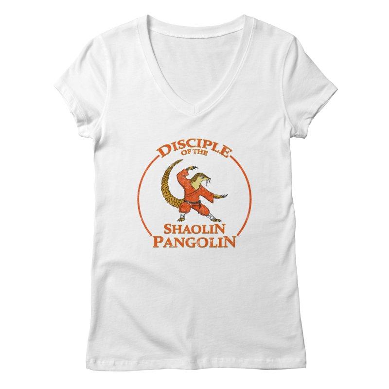 Shaolin Pangolin Women's V-Neck by thejauntybadger's Artist Shop