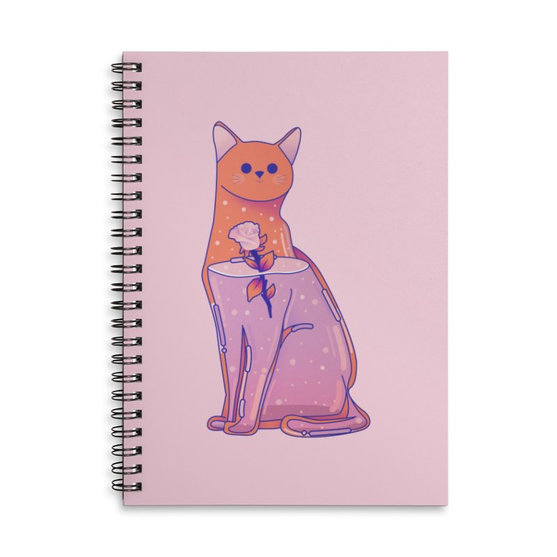Cat with its rose Accessories Lined Spiral Notebook by theladyernestember's Artist Shop