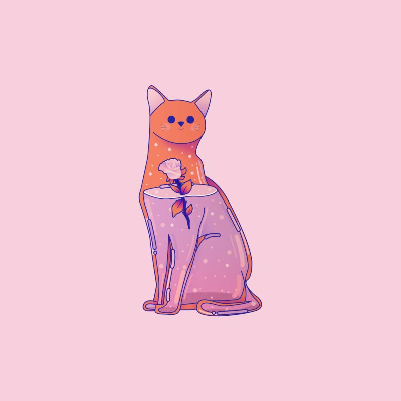 Cat with its rose by theladyernestember's Artist Shop