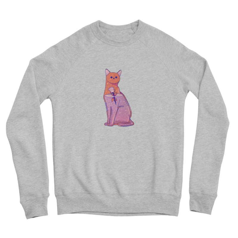 Cat with its rose Men's Sponge Fleece Sweatshirt by theladyernestember's Artist Shop