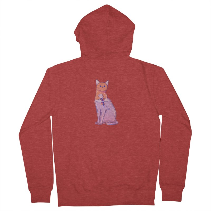 Cat with its rose Women's French Terry Zip-Up Hoody by theladyernestember's Artist Shop