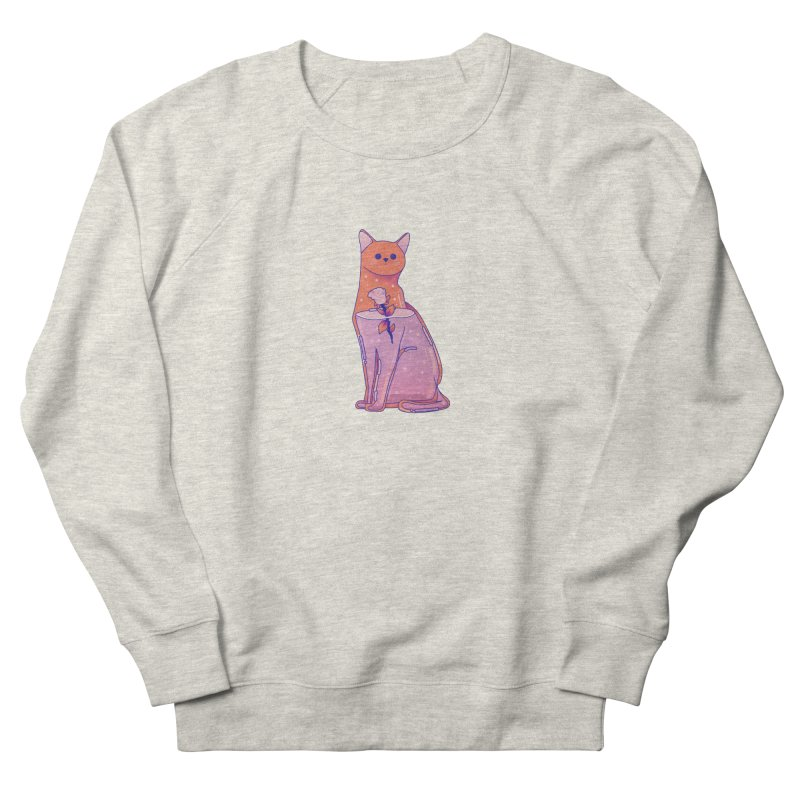 Cat with its rose Women's French Terry Sweatshirt by theladyernestember's Artist Shop