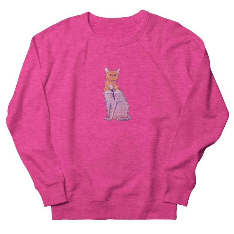 Cat with its rose Men's French Terry Sweatshirt by theladyernestember's Artist Shop