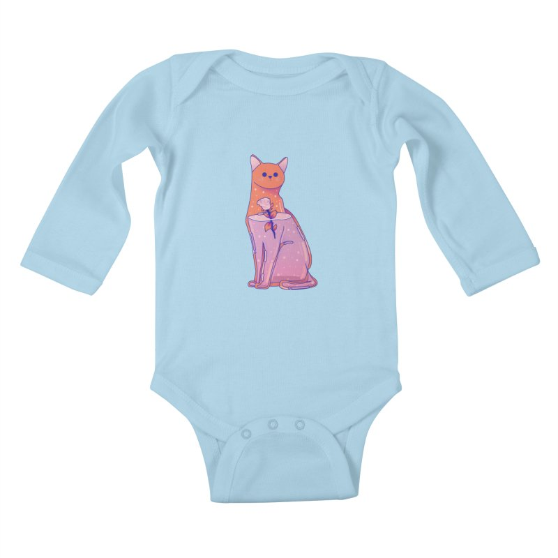 Cat with its rose Kids Baby Longsleeve Bodysuit by theladyernestember's Artist Shop
