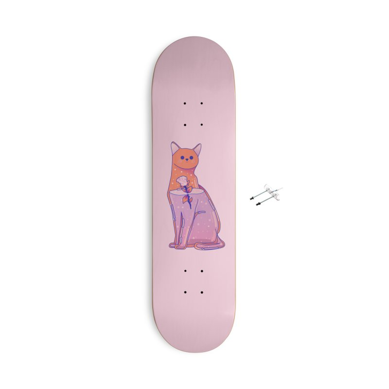 Cat with its rose Accessories With Hanging Hardware Skateboard by theladyernestember's Artist Shop