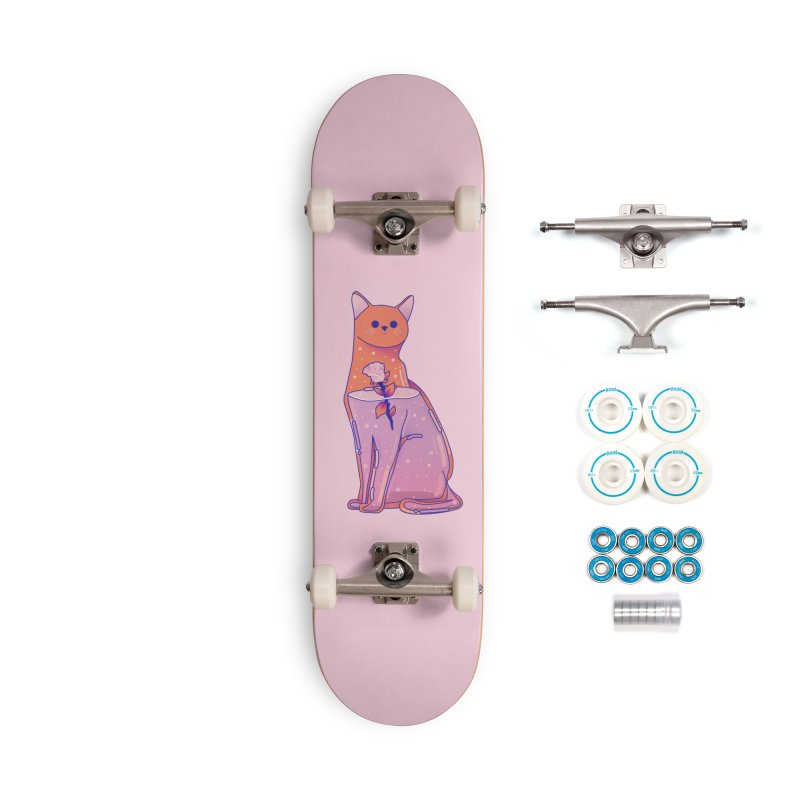 Cat with its rose Accessories Complete - Basic Skateboard by theladyernestember's Artist Shop