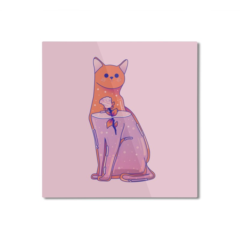 Cat with its rose Home Mounted Aluminum Print by theladyernestember's Artist Shop