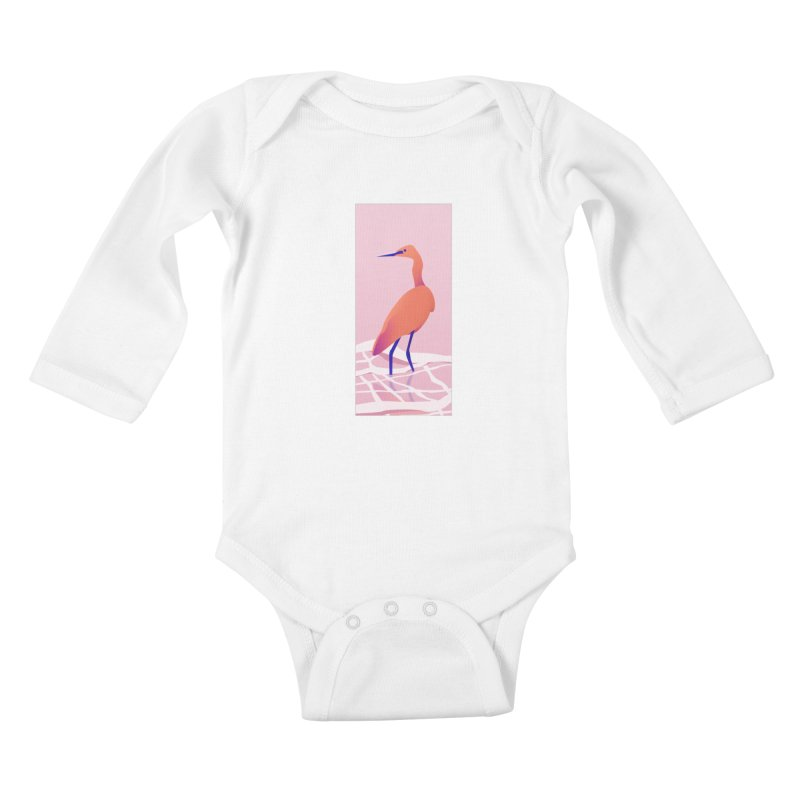 Heron Kids Baby Longsleeve Bodysuit by theladyernestember's Artist Shop