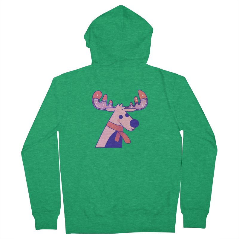 Reindeer Men's French Terry Zip-Up Hoody by theladyernestember's Artist Shop