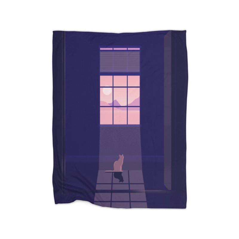 Cat Home Fleece Blanket Blanket by theladyernestember's Artist Shop