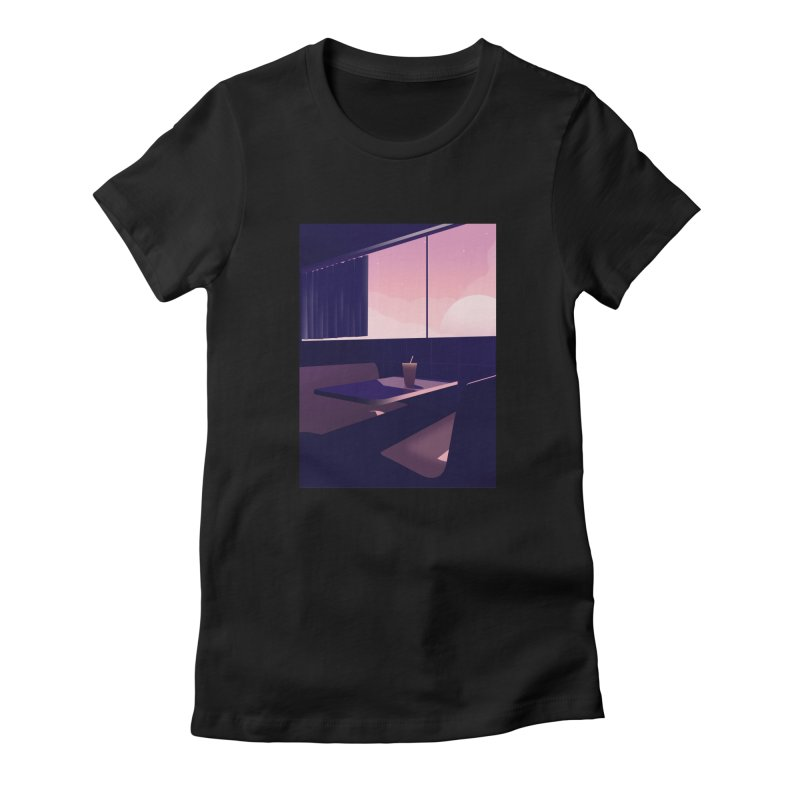 Empty Cafe Women's Fitted T-Shirt by theladyernestember's Artist Shop