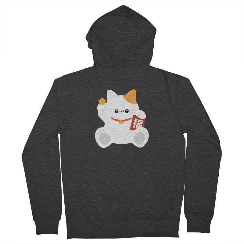 Fortune Cat Women's French Terry Zip-Up Hoody by theladyernestember's Artist Shop
