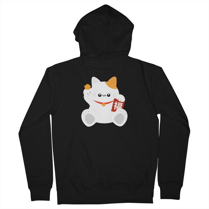 Fortune Cat Men's French Terry Zip-Up Hoody by theladyernestember's Artist Shop