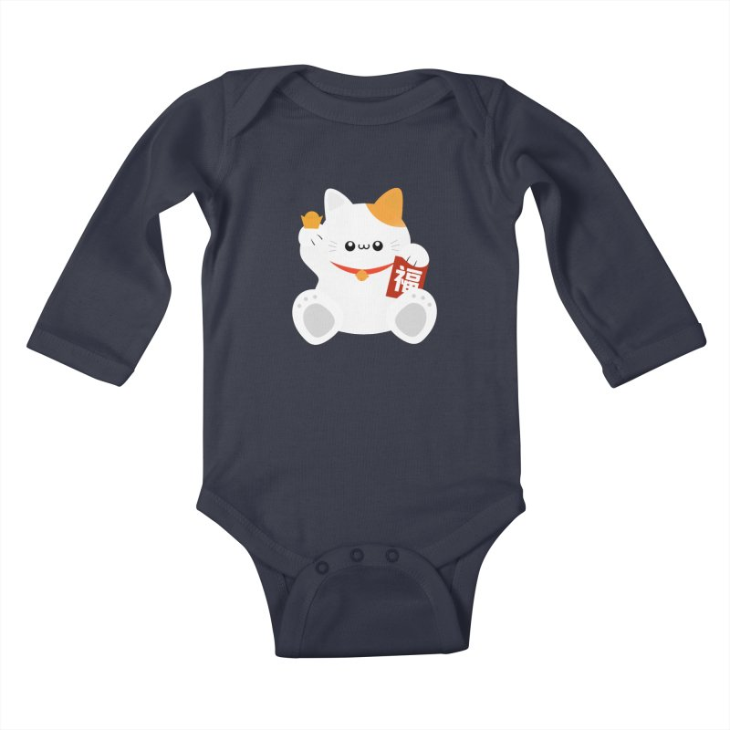 Fortune Cat Kids Baby Longsleeve Bodysuit by theladyernestember's Artist Shop