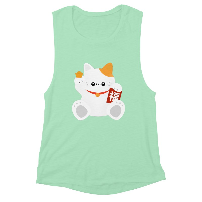 Fortune Cat Women's Muscle Tank by theladyernestember's Artist Shop