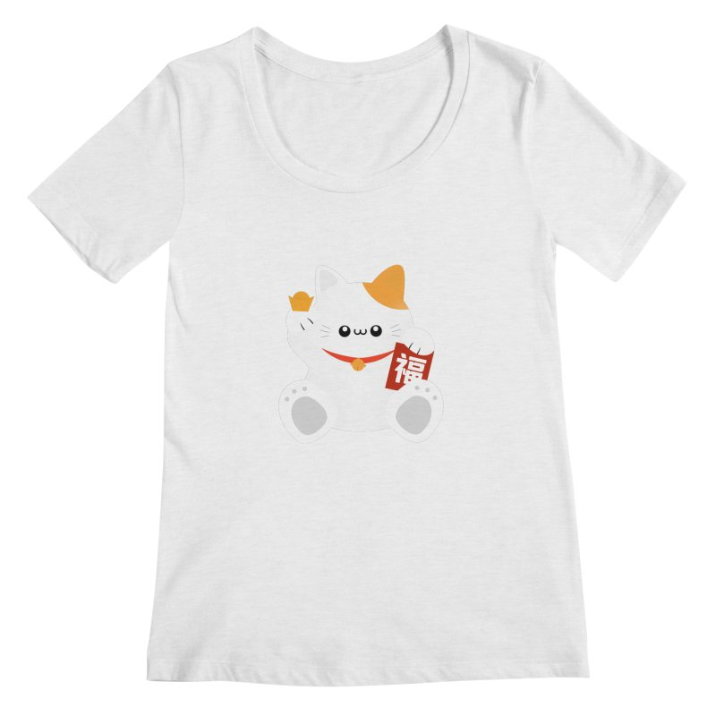 Fortune Cat Women's Scoop Neck by theladyernestember's Artist Shop